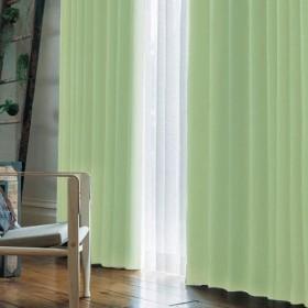窓美人 アラカルト 1級遮光カーテン パステルグリーン 幅100×丈190cm 2枚組 フック タッセル 断熱 省エネ 高級感