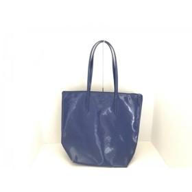 【中古】 ラコステ Lacoste ショルダーバッグ ブルー 型押し加工 PVC(塩化ビニール)