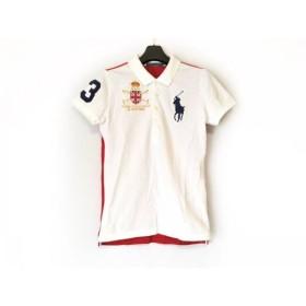 【中古】 ラルフローレン 半袖ポロシャツ サイズM レディース ビッグポニー 白 レッド ネイビー