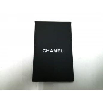 【中古】 シャネル CHANEL 小物 美品 黒 白 ミラー/オイルコントロールペーパーセット PVC(塩化ビニール)