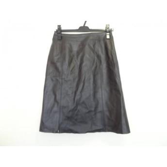 【中古】 バーバリーロンドン スカート サイズ40 L レディース アイボリー 黒 マルチ レザー