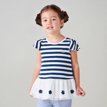 ミキハウス リーナちゃん チュール付きボーダー半袖Tシャツ 紺