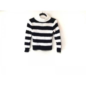 【中古】 ジユウク 長袖セーター サイズ38 M レディース アイボリー ダークネイビー ハイネック/ボーダー