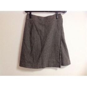 【中古】 ミッシェルクラン MICHELKLEIN 巻きスカート サイズ38 M レディース ダークブラウン 白 マルチ