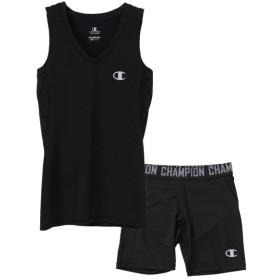 チャンピオン ウィメンズ レイヤータンク&ハーフタイツ 上下セット ブラック×ブラック champion CW-PB315U-090-CW-PB515U-090