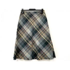 【中古】 レリアン スカート サイズ9 M レディース 美品 ライトグレー グレー マルチ チェック柄