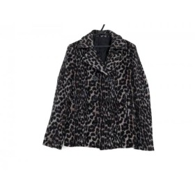 【中古】 マウジー moussy Pコート サイズ1 S レディース グレー 黒 豹柄/冬物