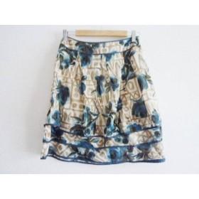 【中古】 フラジール FRAGILE スカート サイズ38 M レディース ベージュ ネイビー マルチ 花柄