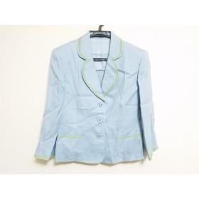 【中古】 ミスアシダ ジャケット サイズ9 M レディース 美品 ライトブルー ライトグリーン 肩パッド/刺繍