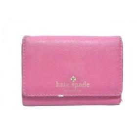 【中古】 ケイトスペード Kate spade コインケース PWRU3897 ピンク パスケース、キーリング付き レザー