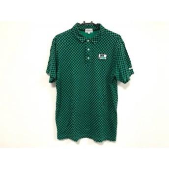 【中古】 パーリーゲイツ 半袖ポロシャツ サイズ6 メンズ グリーン 黒 Jack Bunny/チェッカーフラッグ柄