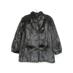 【中古】 サガミンク SAGA MINK コート サイズ11 M レディース 黒 冬物/ネーム刺繍