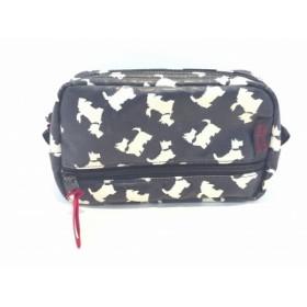 【中古】 アルティザン&アーティスト ARTISAN & ARTIST ポーチ 黒 アイボリー 犬柄 PVC(塩化ビニール)