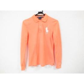 【中古】 ラルフローレンゴルフ 長袖ポロシャツ サイズXS レディース ビッグポニー オレンジ 白