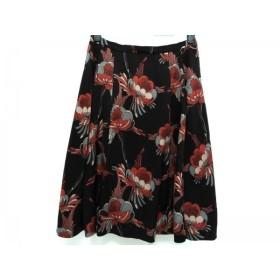 【中古】 ダブルスタンダードクロージング スカート サイズ36 S レディース 黒 レッド マルチ 花柄