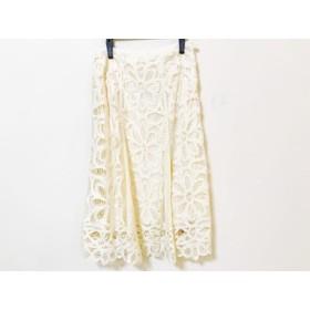 【中古】 ロイスクレヨン Lois CRAYON スカート サイズM レディース 美品 アイボリー 花柄/刺繍