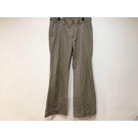【中古】 ニジュウサンク 23区 パンツ サイズ46 XL レディース ベージュ 白 ストライプ