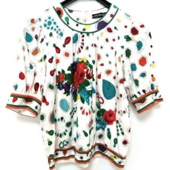 【中古】 レオナール LEONARD 半袖カットソー サイズM レディース 白 マルチ 花柄