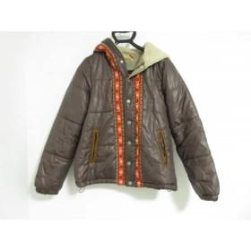 【中古】 ジーンナッソーズ ダウンジャケット サイズ3 L レディース ダークブラウン レッド マルチ 冬物