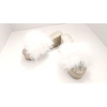 【中古】 メリージェニー ミュール M レディース 新品同様 白 グレージュ ウェッジソール/オープントゥ