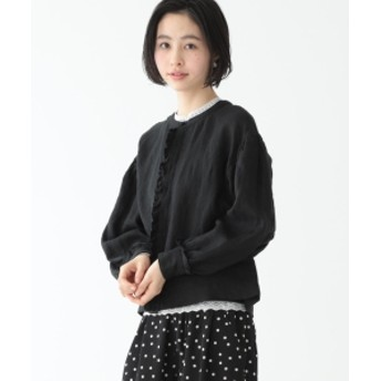 BEAMS BOY / リネン ファーマー 7分袖 シャツ レディース カジュアルシャツ BLACK ONE SIZE