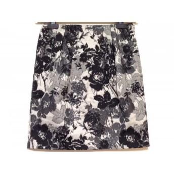 【中古】 トゥモローランド TOMORROWLAND スカート サイズ36 S レディース 美品 黒 白 マルチ 花柄