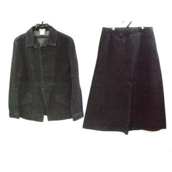 【中古】 プランテーション スカートセットアップ サイズM レディース 黒 ダークブラウン デニム