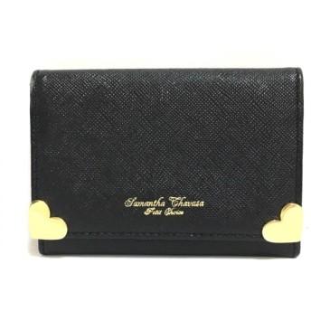 【中古】 サマンサタバサプチチョイス カードケース 美品 黒 ゴールド ハート 合皮 金属素材