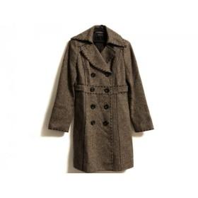 【中古】 フラジール コート サイズ38 M レディース ブラウン ダークブラウン ツイード/ラメ/冬物