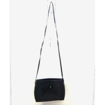 【中古】 バリー BALLY ショルダーバッグ 黒 編み込み レザー エナメル(レザー)