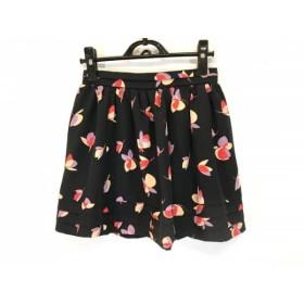 【中古】 リリーブラウン Lily Brown ミニスカート サイズ1 S レディース 黒 ベージュ マルチ 花柄