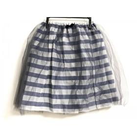 【中古】 ビリティス Bilitis スカート サイズ36 S レディース 美品 ネイビー ライトグレー 白 ボーダー