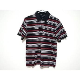 【中古】 フレッドペリー 半袖ポロシャツ サイズL レディース ダークネイビー 白 レッド ボーダー