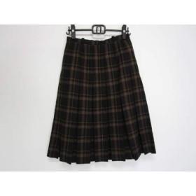 【中古】 レリアン Leilian スカート サイズ11 M レディース 黒 ブラウン オレンジ チェック柄/プリーツ
