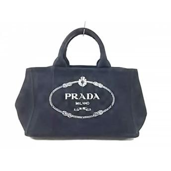 【中古】 プラダ PRADA ハンドバッグ CANAPA BN2642 黒 アイボリー キャンバス