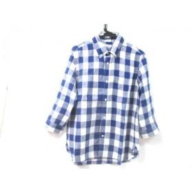 【中古】 ノーブランド 七分袖シャツ サイズL ユニセックス ブルー ホワイト