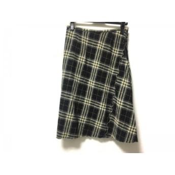 【中古】 ユキトリイ YUKITORII スカート サイズ38 M レディース 美品 黒 アイボリー マルチ チェック柄