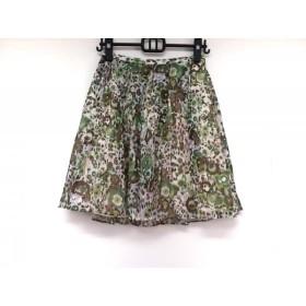 【中古】 ヴゼット VOUS ETES スカート サイズ36 S レディース ダークブラウン グリーン マルチ