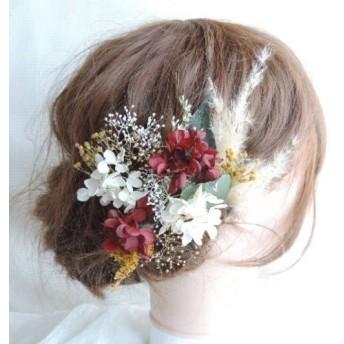 紅白とからし色の髪飾り ドライフラワー プリザーブドフラワー