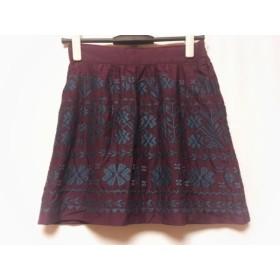 【中古】 ティビ tibi ミニスカート サイズ2 S レディース 美品 パープル ネイビー 刺繍