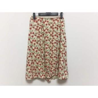 【中古】 エポカ EPOCA スカート サイズM レディース 美品 アイボリー オレンジ マルチ 刺繍