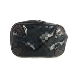 【中古】 エルゴポック HERGOPOCH ウエストポーチ 黒 ダークブラウン PVC(塩化ビニール) レザー