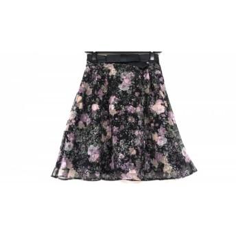 【中古】 アプワイザーリッシェ スカート サイズ0 XS レディース 黒 ピンク マルチ リボン/レース/花柄