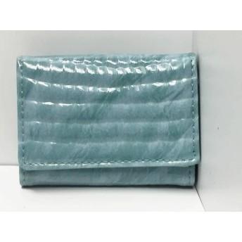 【中古】 アクセソワ Accessoires Wホック財布 ライトブルー 型押し加工 エナメル(合皮)