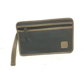 【中古】 ダンヒル セカンドバッグ チャコールグレー ブラウン PVC(塩化ビニール) レザー
