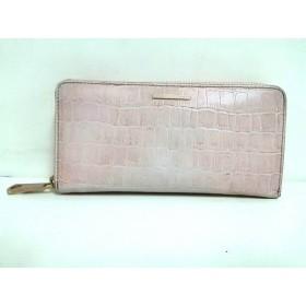 【中古】 アンテプリマ ANTEPRIMA 長財布 ピンク 型押し加工/ラウンドファスナー レザー