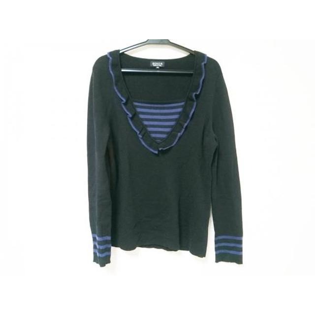【中古】 ソニアリキエル SONIARYKIEL 長袖セーター サイズ46 XL レディース 黒 ブルー ボーダー