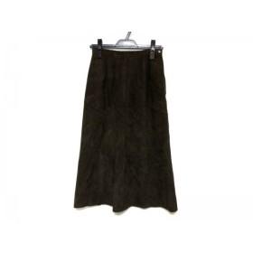 【中古】 レリアン Leilian スカート サイズ7 S レディース ダークブラウン レザー