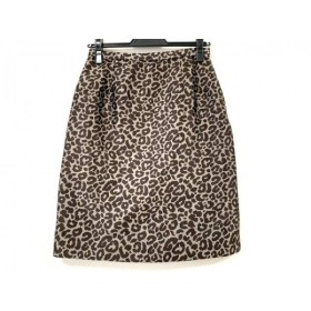 【中古】 レリアン Leilian スカート サイズ9 M レディース 美品 ダークブラウン ベージュ 豹柄
