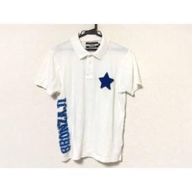 【中古】 ハイドロゲン HYDROGEN 半袖ポロシャツ サイズS メンズ 白 ブルー BRONZAJI/スター